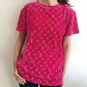 LV Louis Vuitton new embossed letters tide gold velvet women's blouse loose and thin plus size short-sleeved T-shirt