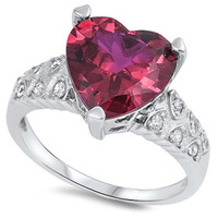 Kailey's Sterling Silver Heart Cut Ruby Stone Fashion Engagement Ring Set