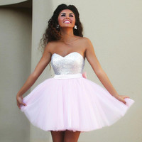 Strapless Sequins Mesh A-Line Dress