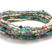 3 Stretch seed bead wrap bracelets, stacking, beaded, boho anklet, bohemian, stretchy stackable multi strand, purple blue agate ivory teal