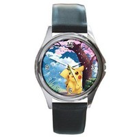Carson's Collectibles Round Silver Metal Watch of Pokemon Pikachu with Cherry Blossom Tree