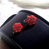 Vibrant Vintage 1930's Red Fun Celluloid Flower Heat Set Rhinestone Crystals Paste Screw Back Earrings Fun Sun All Any Occasion Earrings