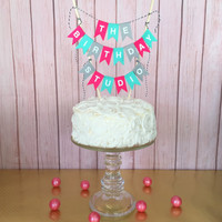 Happy Birthday Cake Banner Topper, Birthday Bunting - Custom Colors