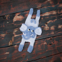 Hand Knit Elephant, Baby Boy Gifts, Birth Announcment, Knitted Toys, Stuffed Animals, Knit toy, Children's toys