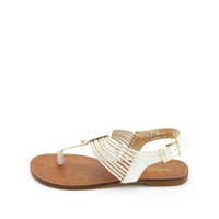 GOLD-BRAIDED T-STRAP THONG SANDALS