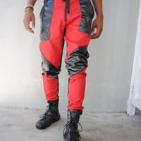 Red Denim Joggers with Perforated Leather Detail