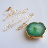 Green Teal Stalactite Necklace with Gold by 443Jewelry on Etsy
