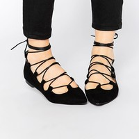 Glamorous | Glamorous Black Suede Ghillie Tie Up Flat Shoes at ASOS