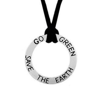 """Sterling Silver Inspirational """"""""Go Green Save The Earth"""""""" Pendant"""