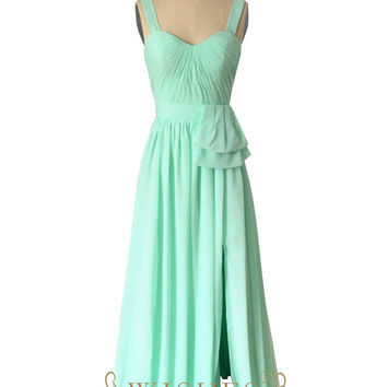 A-Line Sweetheart Knot at Waist Slit Skirt Mismatch Bridesmaid Dress AM512
