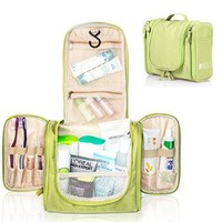 All-match Hanging Toiletry Kit Clear Travel BAG Cosmetic Carry Case Toiletry (Green)