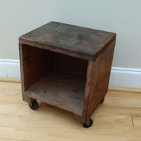 Vintage Rustic Wooden Box Stool End Table Ottoman Shelf on Wheels