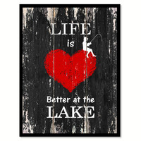 Life is better at the lake Motivational Quote Saying Canvas Print with Picture Frame Home Decor Wall Art