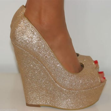 LADIES GOLD SUPER GLITTERY PEEP TOE WEDGE HEELS SHOE SANDAL EVENING PARTY 3-8