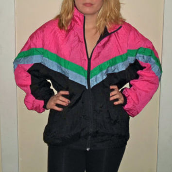 1990s Hot Neon Green Pink Blue Black Windbreaker Jacket, 90s Athletic Wind Breaker Zip Up