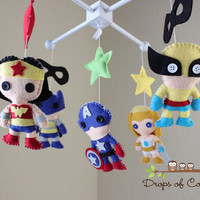 Baby Mobile - Baby Crib Mobile - Nursery Super Heroes Mobile - Super Girls (You Can Pick Other Custom Heroes)