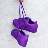 """Adidas"" Fashion Shell-toe Flats Sneakers Sport Shoes Pure color purple"