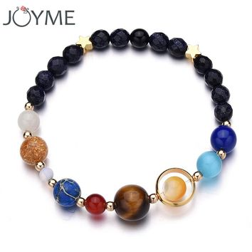 New Drop Shipping Stone Bracelet Universe Galaxy the Eight Planets in the Solar System Guardian Star Bracelet for Women Men Gift
