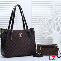 LV Tide brand women's classic old flower checkerboard handbag shopping bag two-piece