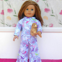 Blue Print Flannel Doll Pajamas, Birds and Flowers, Sparkly Doll Pyjamas, Winter Doll Clothes, fits 18 Inch Dolls such as American Girl