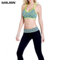 MAIJION Women Sport Yoga Sets Padded Sport Bra Top+Elastic Leggings Pants, Gym Running Jogging Yoga Fitness Suit Sportswear