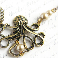 My Bubbles, Large Bronze Steampunk Bronze Octopus Wire wrapped pearls, Long Single Stand Antique Brass Chain Necklace, Captain Nemo Inspired