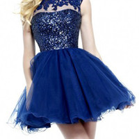 Dark Blue Sequin Crystal Sheer Crochet Open Back Tulle Homecoming Dress