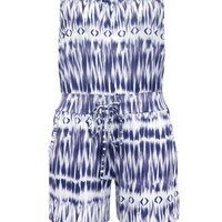 Casual Strapless Drawstring Pocket Printed Romper