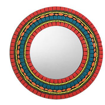Round Wall Mirror, Colorful Mosaic Mirror