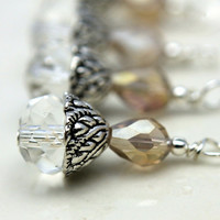 Clear Multifaceted Rondelle Crystal and Smokey Topaz Teardrop Bead Dangle Charm Drop Set