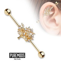 Rose Gold Tree Industrial Barbell (14G)