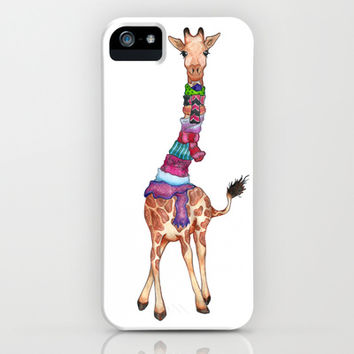 Cold Outside - cute giraffe illustration iPhone & iPod Case by Perrin Le Feuvre