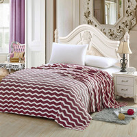Chevron Modern Wave Burgundy Full Size Ultra Plush Micro Fleece Blanket