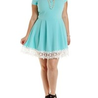Plus Size Green Crochet-Trimmed Skater Dress by Charlotte Russe
