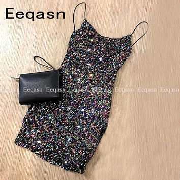 New Sparkle Glitter Mini Cocktail Dresses 2020 Backless Short Homecoming Party Dress Sheath Chic Prom Gowns Gala Dress