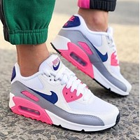 NIKE Air Max 90 Popular Women Casual Sport Running Sneakers Shoes White&Pink&Blue