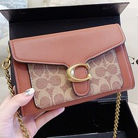 COACH New fashion embroidery floral chain shoulder bag crossbody bag handbag Brown