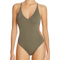 VINCE CAMUTOStud Embellished One Piece Swimsuit