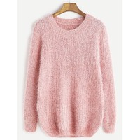 Fuzzy Chunky Knit Sweater Pink