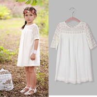 Pageant Kids Baby Girls White Lace Flower Party Dress Gown Formal Dresses 2-9Y