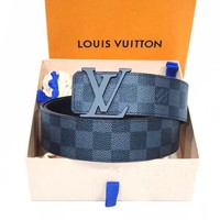 LV Fashion Women Man Print Louis Vuitton Monogram Tartan Belt Black Tartan