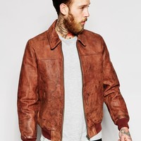 ASOS Leather Harrington With Vintage Wash