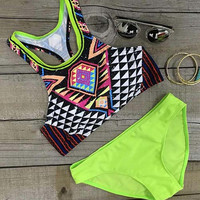 Cupshe Candy Color Geometric Swimsuit