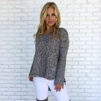 Cozy Up Speckled Knit Sweater in Grey