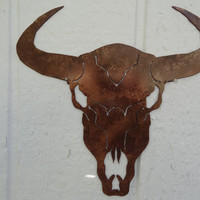 "Cow Skull 25"" Metal Wall Art Country Rustic Home Decor"