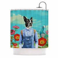 "Natt ""Family Portrait N3"" Blue Dog Shower Curtain"