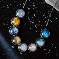 Solar System Necklace - Space Jewelry, Planets, Slide Pendants