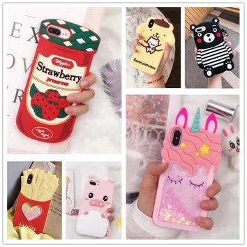 Hot Japan 3D strawberry sauce unicorn dog bear love heart fries carrot silicone cover case for iphone 6 7 8 plus X phone cases