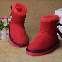 2015 XMAS GIFT Australia brand Snow boots boy/girl real cowhide boots, waterp roof warm children's Fur one boots Fashionable boots 5534 Red