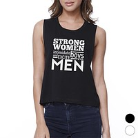 Strong Women Womens Funny Work Out Muscle Tank Top Crop Top For Gym